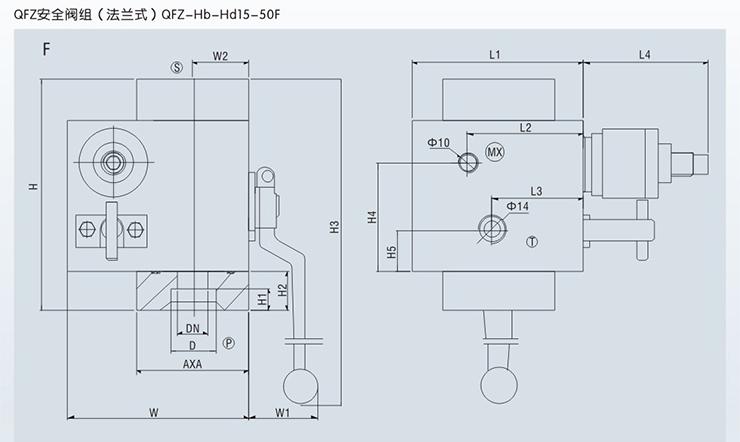 蓄能器安全阀组外形尺寸2