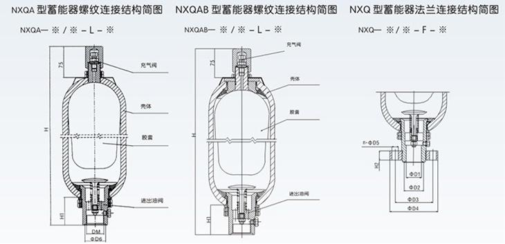 囊式蓄能器结构尺寸